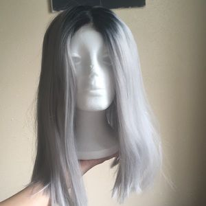 Silver and black ombré wig